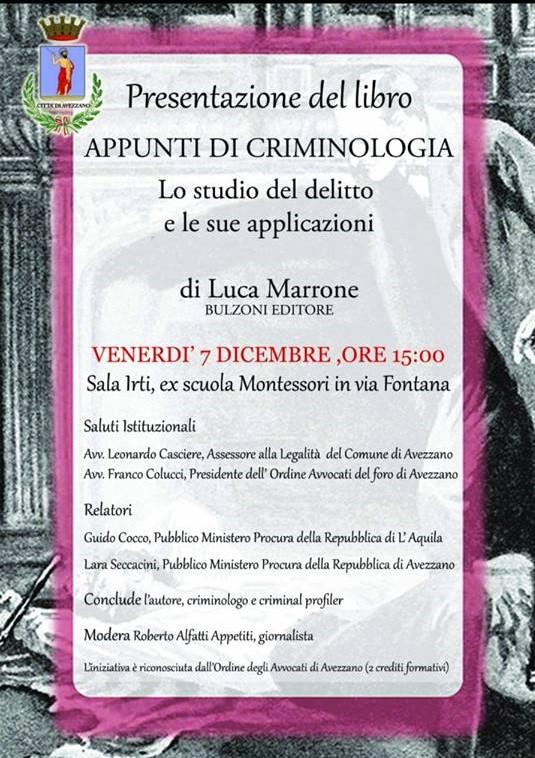 Presentazione del libro : 'Appunti di Criminologia'