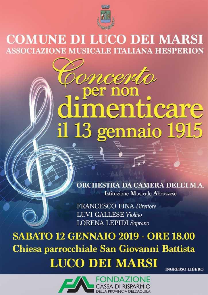 Concerto per non dimenticare il 13 Gennaio del 1915 a Luco Dei Marsi