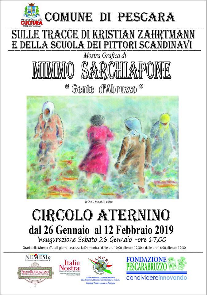 Mostra grafica di Mimmo Sarchiapone dal nome 'Gente D'Abruzzo' a Pescara