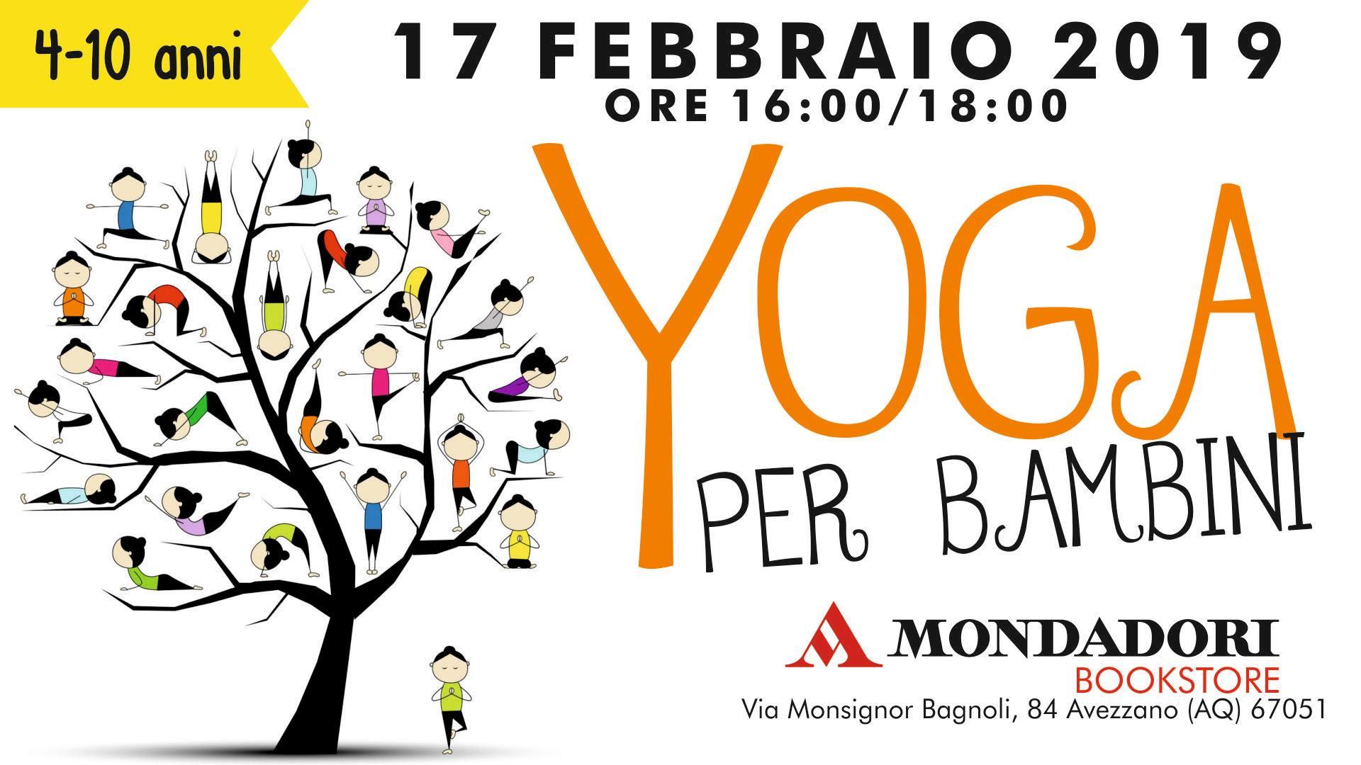 Laboratorio di yoga per bambini presso la Mondadori di Avezzano
