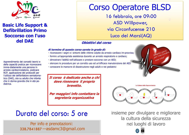Corso operatore BLSD e defibrillatore Semi Automatico