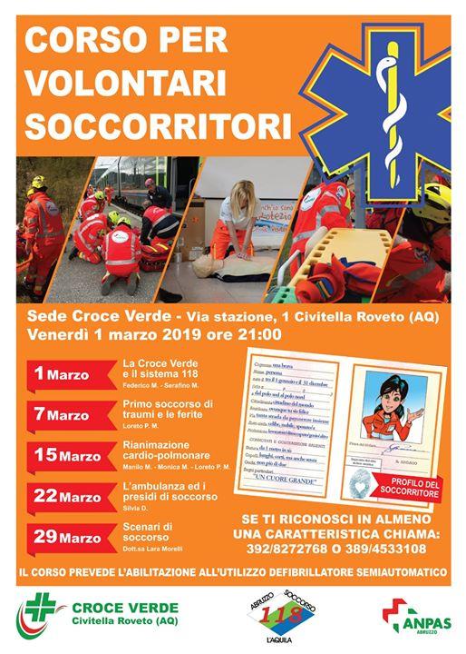 Corso per volontari soccorritori a Civitella Roveto