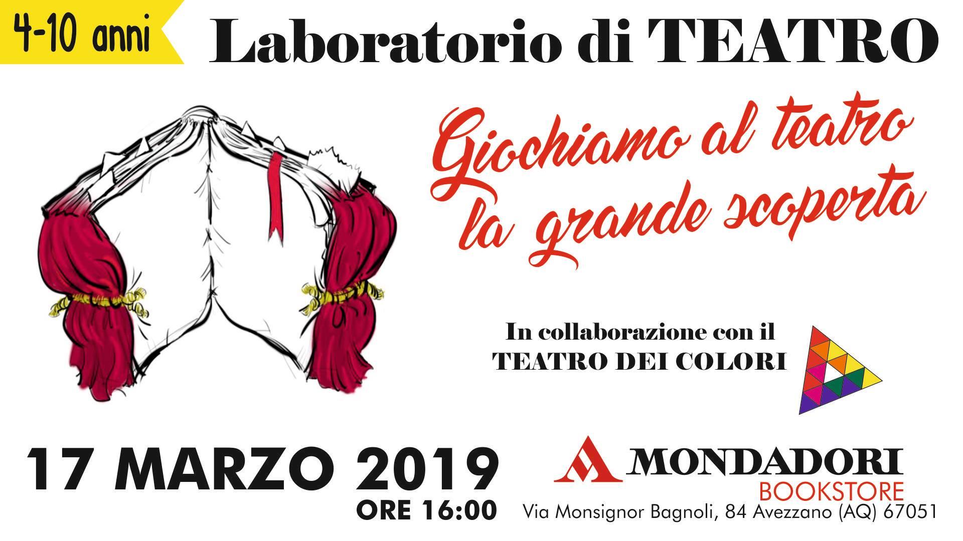 Laboratorio di Teatro alla Mondadori di Avezzano in collaborazione con il Teatro dei Colori