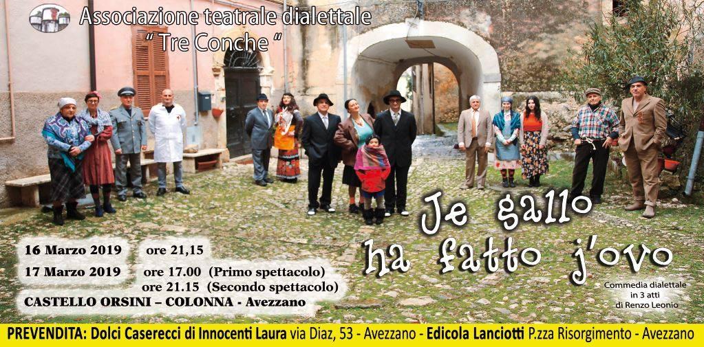 Spettacolo dialettale 'Je gallo ha fatto j'ovo' ad Avezzano