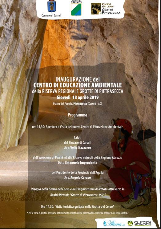 Inaugurazione del centro di educazione Ambientale della Riserva Regionale Grotte di Pietrasecca