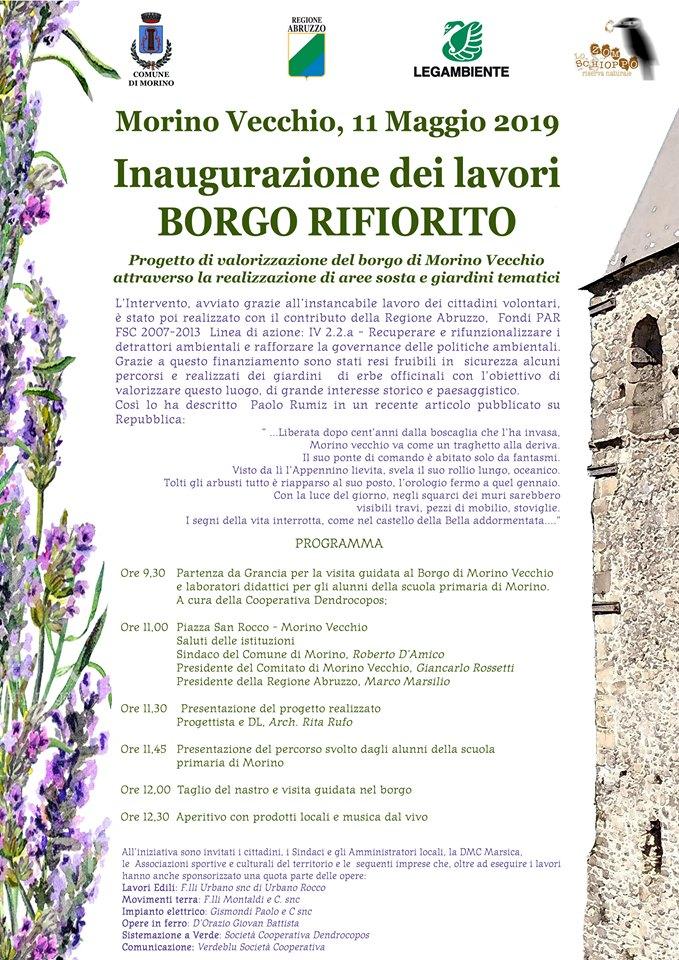Inaugurazione dei lavori a Borgo rifiorito, progetto di valorizzazione del Borgo di Morino Vecchio