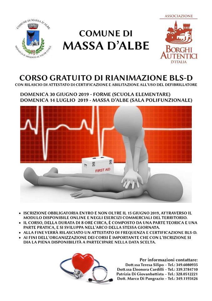 Corso gratuito di rianimazione BLS-D  a Massa D'Albe