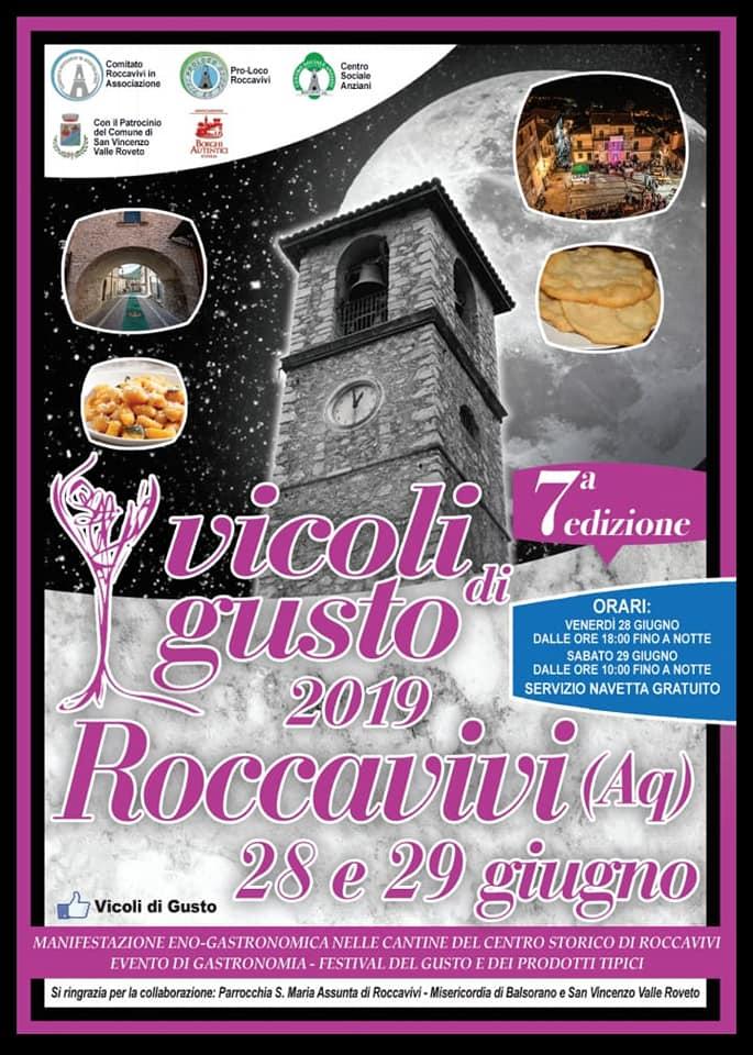 Settima edizione dell'evento Vicoli di Gusto a Roccavivi di San Vincenzo Valle Roveto