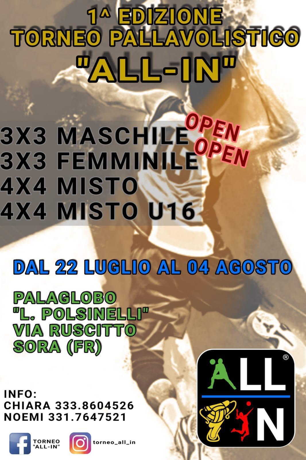 1' Edizione del torneo pallavolistico 'ALL-IN'