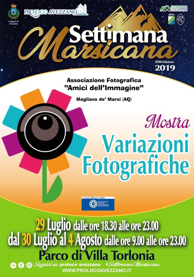 Mostra 'Variazioni Fotografiche' per la settimana Marsicana