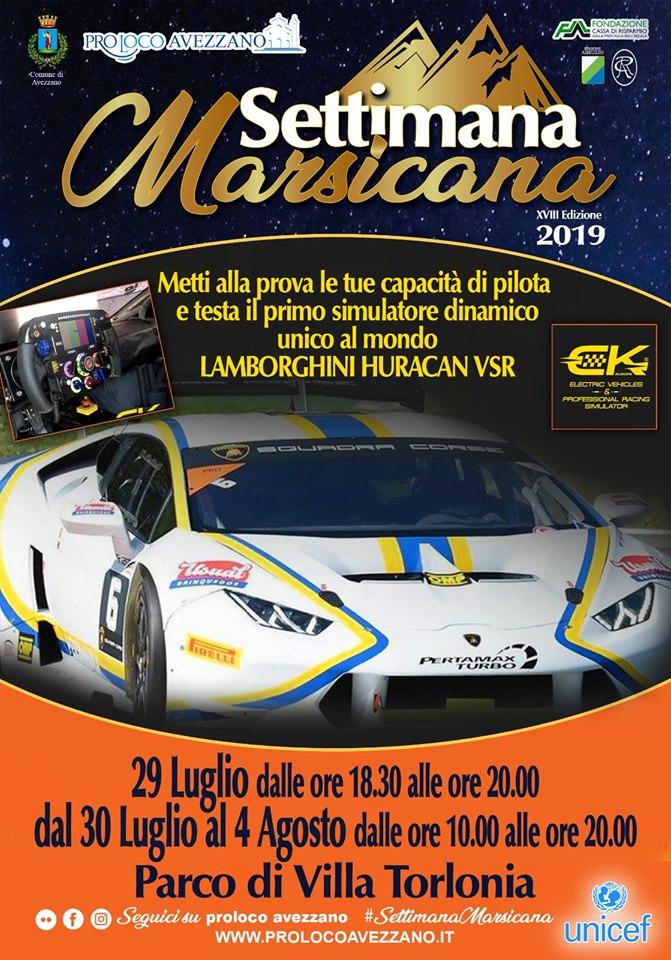 Simulatore dinamico della Lamborghini Huracan VSR alla Settimana Marsicana