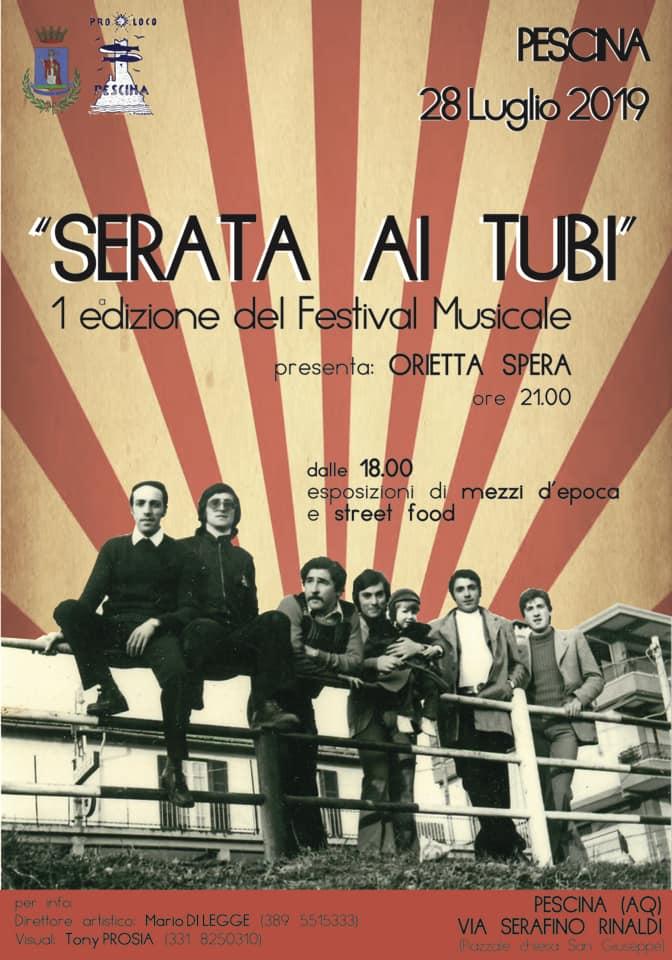 1' Edizione del festival musicale 'Serata ai tubi' a Pescina