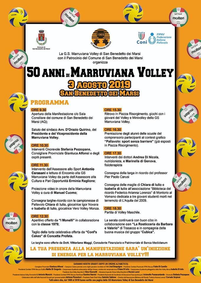 Festeggiamentio per i 50 anni della Marruviana Volley a San Benedetto dei Marsi
