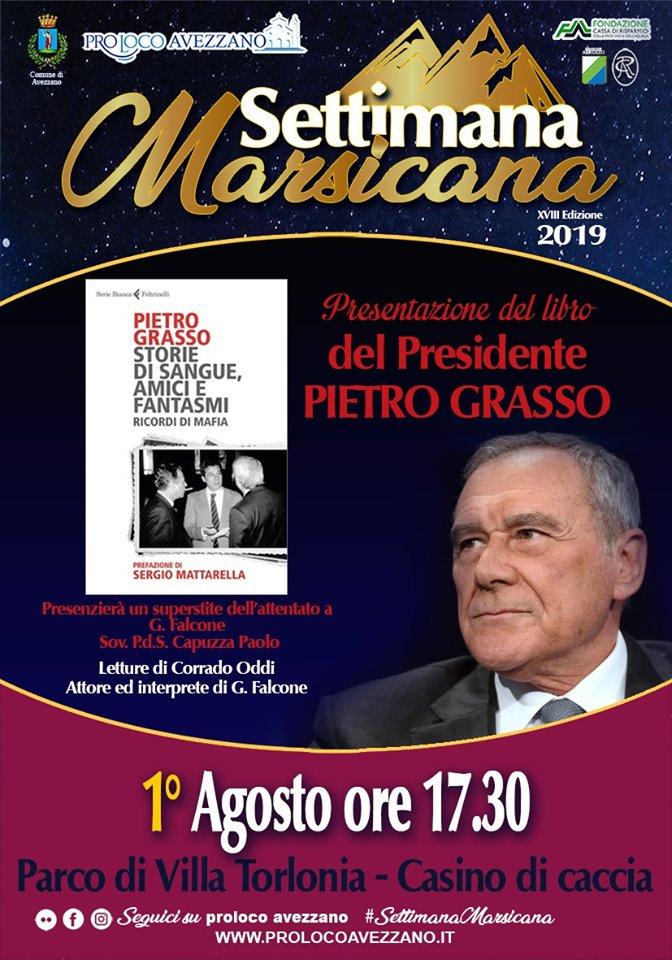 Presentazione del libro di Pietro Grasso alla Settimana Marsicana