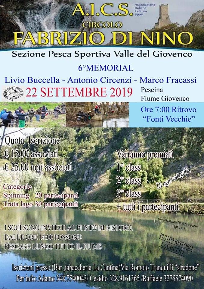 Sesta edizione  del Memorial Livio Buccella - Antoni Circenzi - Marco Fracassi - gara di pesca