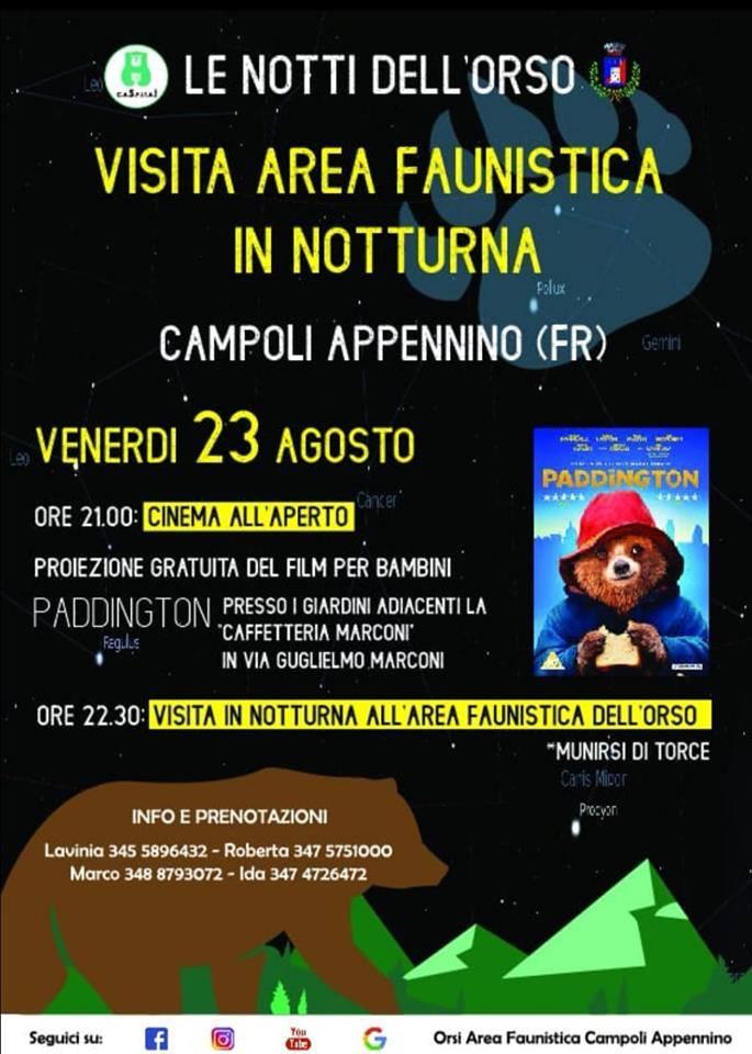 Notti dell'orso a Campoli Appennino 'Visita area faunistica in notturna'