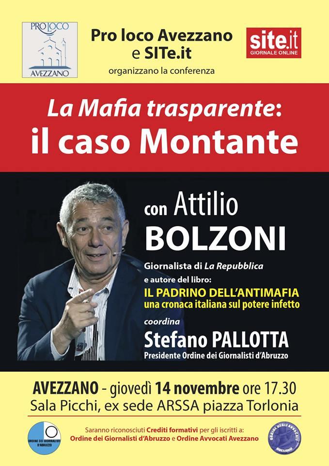 Conferenza 'La Mafia trasparente: il caso Montante' ad Avezzano