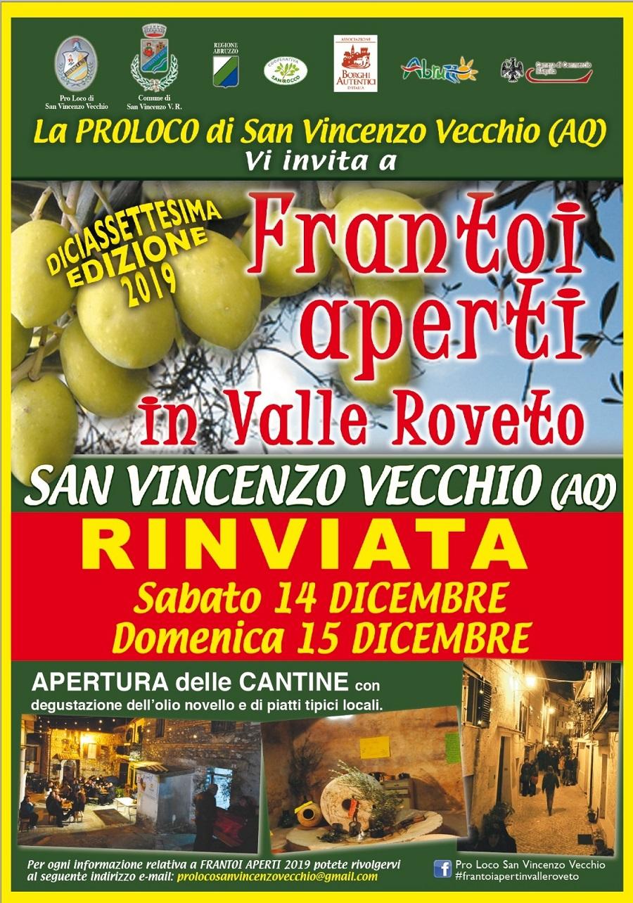 diciassettesima edizione dell'evento 'Frantoi aperti in Valle Roveto'
