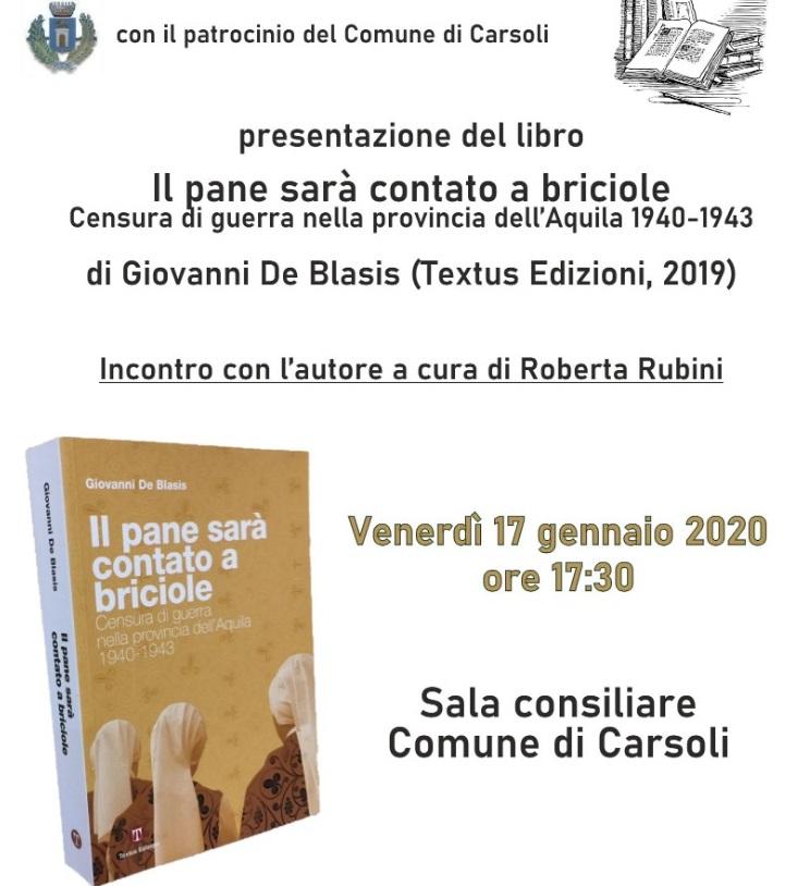 Presentazione del libro 'Il pane sara' contato a briciole' a Carsoli